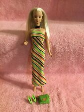 Mattel Barbie Wearing Stripe Halter Maxi Dress With Purse And Shoes