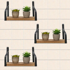 3Pcs Metal Wood Shelf Industrial Wall Hanging Storage Shelves Decorations Rack