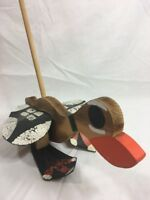 Vintage PUSH ALONG DUCK TOY SOLID WOOD WOODEN FLAPPER Hand Made & Painted