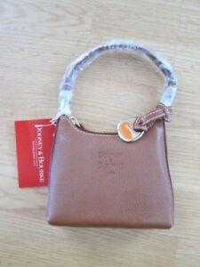 Dooney & Bourke $85 #SF250 HN Honey/Honey Tan Leather Mini Zip Top Bitsy Bag NWT