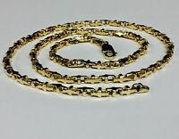 18k Solid Yellow Gold Anchor Mariner Link Chain Necklace 3.1 MM  37 grams  24""