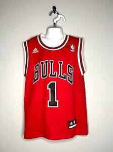 WoW~ Adidas sz S 8 Youth Chicago Bulls #1 Derrick Rose Jersey Swingman NBA boys