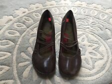 Camper PEU NARA Dark Gray Brown Leather Mary Jane Heels Shoes 39 US 9 Excellent