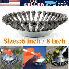 Us 6/8 Inch Steel Wire Wheel Brush Grass Trimmer Head Weed Cleaning Garden Farm