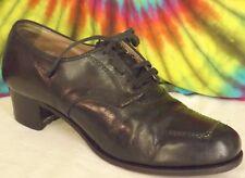 size 8.5 B vintage 40s black lace-up secretary oxfords granny shoes