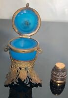 Antique French gilded thimble in blue satin crystal glass gilded case