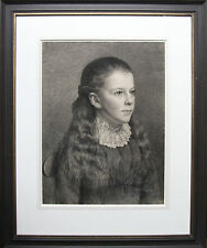 VICTORIAN PRE-RAPHAELITE PORTRAIT YOUNG GIRL DRAWING c1890 BRITISH ART
