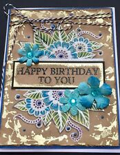 Birthday - Kraft Gold/white embossed floral - HANDMADE CARD By Dee
