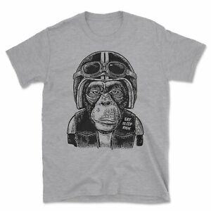 Monkey Biker T-Shirt | Funny Rocker Motorbike Motorcycle Eat Sleep Ride Gift