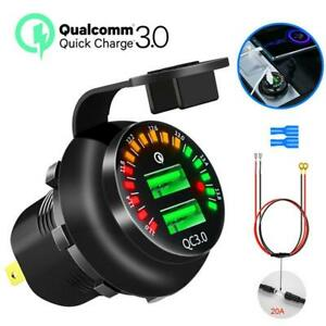 QC3.0 Dual Port USB Fast Car Charger Quick Charge Universal Voltage Display New