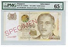 8PN001597 1999 SINGAPORE $10000 PORTRAIT SPECIMEN NOTE Gem UNC PMG Graded 65 EPQ