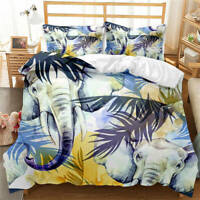 Great Elephant And Musa Leaf 3D Quilt Duvet Doona Cover Set Pillow case Print