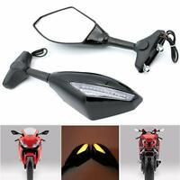 Motorcycle Cruiser LED Turn Signal Rearview Mirrors For Yamaha Honda Kawasaki WY