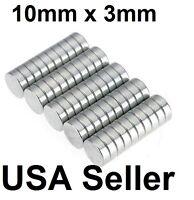 lot 100 50 10mm X 3mm Neodymium Disc Strong Rare Earth N48 Small Fridge Magnets