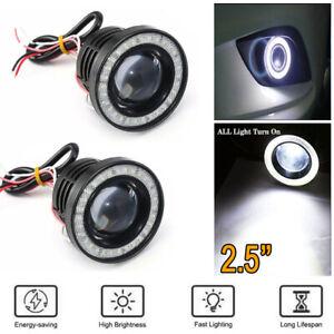 2.5 Inch Car COB LED Fog Light Projector White Angel Eyes Halo Ring DRL Lamp