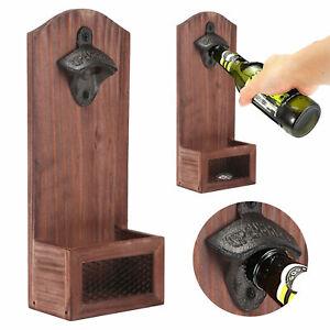 Retro Wooden Cap Bottle Opener Kitchen Bar Wall Mounted Beer with Cap Catcher