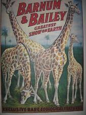 BARNUM & BAILEY GREATEST SHOW ON EARTH GIRAFFE POSTER COPYRIGHT 1917 (NEAR MINT)
