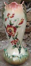 -Majolica Art Nouveau Vase en Barbotine 36 cm