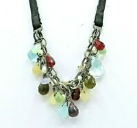 Silpada Sterling Silver Leather Necklace w/Glass Briolettes Stones Pearls, N1263