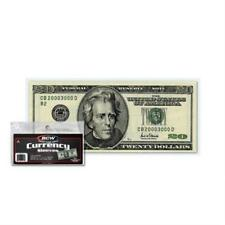 100 Us Currency Paper Money Bill Protector Sleeves For Regular Bills By Bcw New