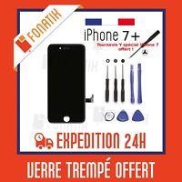 ECRAN LCD POUR IPHONE 7 PLUS NOIR + VITRE TACTILE MONTES SUR CHASSIS +KIT OUTILS