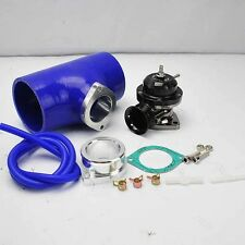 """BLACK TURBO CHARGED TYPE-RS BOV BLOW OFF VALVE +3"""" BLUE SILICONE COUPLER ADAPTER"""