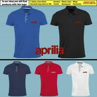 APRILIA Polo T Shirt EMBROIDERED Logo Slim Fit Tee Mens Motorcycle Racing Sport