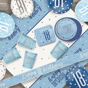 Blue Glitz 18th Birthday Party Supplies Decorations (Confetti Strings Napkins)