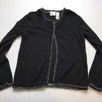 Villager Black Fringe Cardigan Sweater Size PS Eye Hook Closure A1363