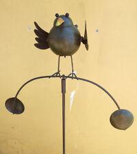 Windspiel Kleiner Vogel Metall bunt bemalt Wippe Garten Pendel Gartenstecker