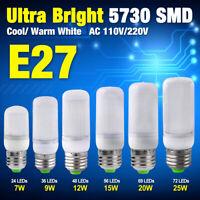 7/9/12/15/20/25W MILKY WHITE COVER 5730SMD LED CORN BULB LIGHT LAMP 110/220V E27