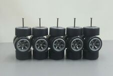 5 sets Plastic Tires Comold 6 spoke CM6 Grey long axle fit 1:64 Hot Wheels MBX