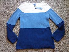 CHAPS women's NWT sz L blues/white striped long sleeve cotton blend knit sweater