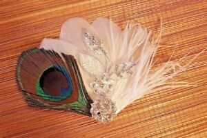Gatsby Flapper 1920s fascinator, Peacock Feather hair clip with crystal jewel.
