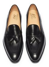 George Cleverley 'Adrian' Mens Black Calf Leather Loafers Tassel Shoes £585 9 UK