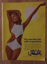 1970 Print Ad Coppertone Suntan Lotion ~ You Own The Sun Sexy Girl White Bikini