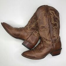 JUSTIN BROWN COWBOY WESTERN BOOTS 11 EE Made in USA 2682 Tan Distressed Goat