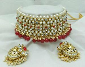 Indian Gold Plated Choker Bridal Wedding Kundan Jewelry Necklace Earrings Set