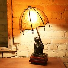 Whimsical Monkey Table Accent Lamp w/Umbrella Mica Shade ~ Stacked Books Base