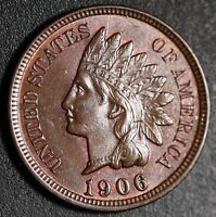 1906 INDIAN HEAD CENT - AU BU UNC - With A TOUCH OF CARTWHEELING MINT LUSTER!