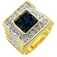 14K GOLD EP 5.0CT CZ SAPPHIRE MENS DRESS RING sz 12 Y