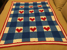 Handmade Afghan / Throw Blanket - From Designer Collection - Hearts