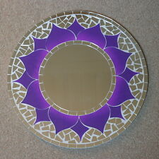 Superb Hand Crafted Mosaic Mirror With Oriental Design Purple Color  40 Cm Wide
