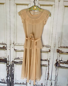 EXQUISITE ANTIQUE 1930's Peach Pleated Collar Chiffon Party  DRESS