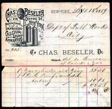 1889 Chas Beseler - Calcium Light Apparatus - New York - Letter Head History