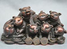 5'' China Zodiac 8 Pig Sending Coin Money Wealth Bronze Statue