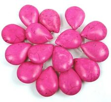 25x18mm Pink Turquoise Briolette Teardrop Beads (15)