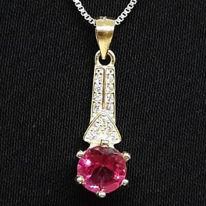 1.10ct Pink Opal & Diamond Cut White Sapphire 14K Yellow Gold 925 Silver Pendant