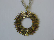 Lucky Brand Silver Chain, Gold Sandstone Sunburst Pendant Necklace