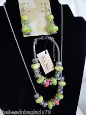 NEW MURANO GLASS BEADS SILVER CRYSTAL NECKLACE BRACELET EARRING GREEN BLUE PINK